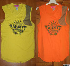 LA REDOUTE Lot 2 t-shirt jaune orange Army 16 ans résille débardeur