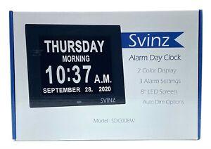 SVINZ 3 Alarms Dementia Clock, 2 Auto-Dim Options,Large Display Digital Calendar