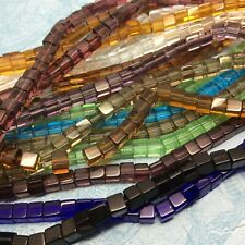 50 x 6mm Glass Beads Square Mixed Colours Hole 1mm jewellery making embroidery