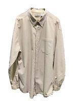 LL Bean Vintage Seersucker Shirt XL Extra Large Tall Tan Mens Button Down Stripe