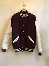 Delong Leather Sleeve Wool Body Varsity Jacket Snaps Maroon XL