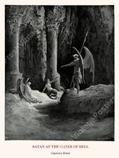 1880 Satan At The Gates Of Hell Gustave Dore art big poster 24x32