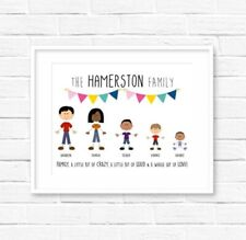 Personalised Family Print with Stick People! Family Print! UK Seller! Fast Del!