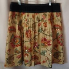 Women's Heart Moon Star 100% Cotton Floral Print Mini Skirt Size 6  Lined LHM