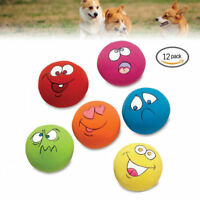 12PCS UNIEX LATEX DOG PUPPY PLAY SQUEAKY BALL WITH FACE FETCH TOY COLOFUL GIFTS