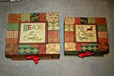 Nesting Stackable Christmas Holiday Boxes - Peace - 2 Boxes Total