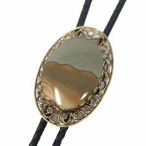 Vintage Bolo Tie Brown Green Polished Stone Black Leather Lariat Western