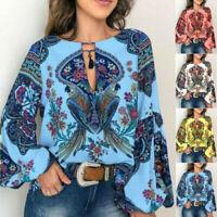 Floral Lantern Oversize Shirt Blouse Boho Women Sleeve S-5XL V-Neck Tops Long T