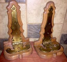 Antique Pair heavy brass hinges mounted On Wood,Great architecture,Wall Display