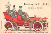 CPA AUTOMOBILE FIAT TURIN PARIS VOITURE ANCIENNE CPA PUBLICITAIRE PUBLICITE