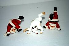 3 Vtg Hand Painted Fitz & Floyd 1976 Japan Tumbling Rudolph & Santa Figurines