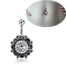 Belly Button Rings Dangle Crystal Rhinestone Navel Bar Body Piercing Jewelry O