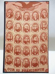 "1950 PCCCOA POSTCARD "" OUR 25 PRESIDENTS "" ca 1901 GERMAN POSTCARD BIO UNUSED"