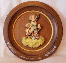 """Anri 1972 Carved Wood Birthday Plate Blue Relief Boy Bass Fiddle Ferrandiz 8.25"""""""