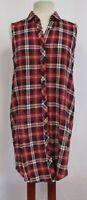 SANS SOUCI Women's Red Blue White Plaid Sleeveless Button Down Shirt Dress-M NWT