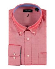 Nautica Mens Red Cotton Classic Fit Button-Front Shirt NWT $65 Size 17.5 36/37