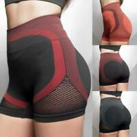 Women's Seamless Yoga Shorts Push Up Mesh Sports Hot Pants Gym Booty Workout A8