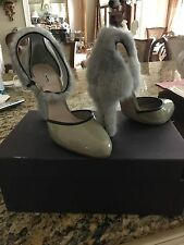 miu miu gray patent shoe with gray mink on the back and heel size 41 italy 500$