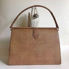 Gran bolso de lagarto 1950s Vintage Imitación De Camello Forro de tejido Kelly Bolsa Mad Men