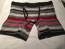 Boxer Briefs  Men's Large NWT Black Gray & Red With Black Trim Free Shipping