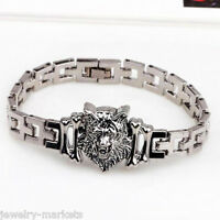 Punk Men Silver Stainless Steel Wolf Head Bracelet Wristband Bangle Cuff Jewelry