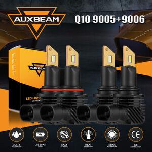 AUXBEAM LED Headlight High Low Beam Bulbs 9005 9006 Combo 6500K Bright Fanless