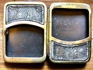 Unusual Antique Vesta Case Polished Steel Blued Steel and Brass