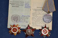 ORIGINAL SOVIET RUSSIAN GROUP AWARD 2 PATRIOTIC WAR ORDER BADGE MEDAL DOCUMENTS