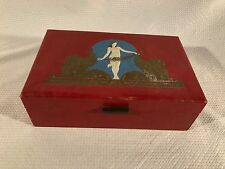 Vintage Red Box with Nude Woman and Gilt Winged Lions ~ Shedu ~ Lion of St. Mark