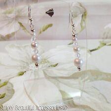Bonita Nupcial Blanco Perla de vidrio cristal claro cuelgan Perforado Pendientes Bodas