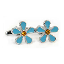 Blue Forget Me Not Cufflinks Gift Boxed Masonic Freemasons Crystal Flower Aj295