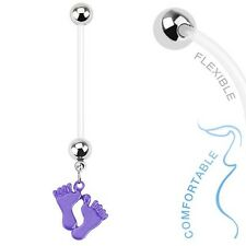 Maternity Belly Ring Flexible Baby Feet Design Purple Dangle Pregnancy
