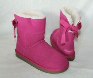 NIB Koolarburra Ugg Short Bow Suede Fur Boots Pink Youth 5 Women's 7