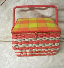 Vintage JCP JC Pennys Japan woven orange  sewing basket filled with notions