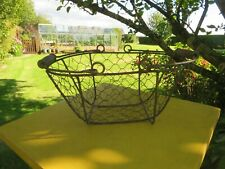 Vintage Small Wire Basket.Wooden Handles