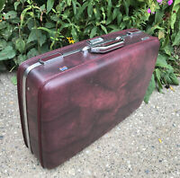 Vintage American Tourister ESCORT Luggage Hard Shell Ron Burgundy Suitcase *RaRe