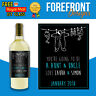 Personalised New born/baby wine bottle label, Perfect Aunt/Uncle/Godparent Gift