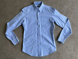 "Tom Ford Mens Striped Premium Cotton Shirt 15.5"" 39 Blue And White 100% Cotton"