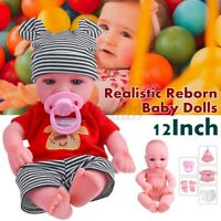12'' Lifelike Washable Reborn Baby Girl Doll Handmade Newborn Dolls+Clothes Gift