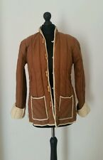 Ladies Padded Jacket Thick Woman Size Large Beige Cream Brown Long Sleeve