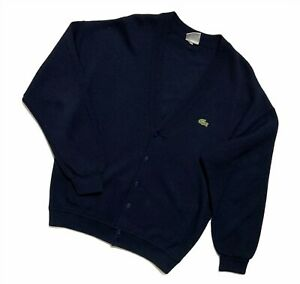 Men's Vintage Lacoste Cardigan Sweater V-neck blue size 3