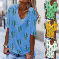 Women Plus Size Cactus Printed Short Sleeve O-neck Pullover Tops T-Shirt Blouse