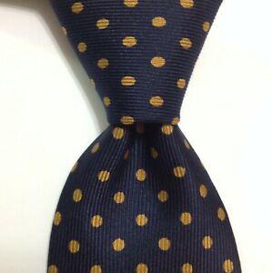 ERMENEGILDO ZEGNA Men's 100% Silk Necktie ITALY Luxury POLKA DOT Blue/Yellow EUC