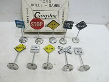 CRAGSTAN ROAD SIGN ASSORTMENT ALL TIN MINT IN BOX MADE IN JAPAN---10 SIGNS