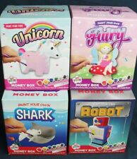 Paint Your Own Ceramic Money Box Kids Create Unicorn Shark Robot Fairy U CHOOSE