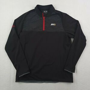 Adidas Taylormade Sweater Mens Large Black Red 1/4 Zip Pullover Golf Stretch