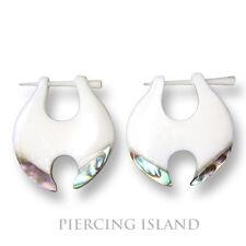 Ohrringe Hänger weiss Knochen mit Perlmutt Piercing Design Schmuck ER108