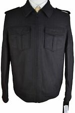#Z491 NEW GUESS Solid Basic Black Wool Blend Jacket L