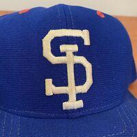 SI Baseball Hat Snapback Cap Vintage 80s New Era Blue Mens Adult USA Retro M L