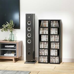 CD DVD Tower Rack Adjustable Shelves Bookcase Storage Organiser Living Room UK